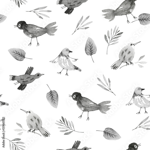 Cotton fabric seamless pattern with hand drawn owls and flowers