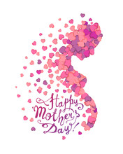 Happy Mother's Day! Profile Of Pregnant Woman Of Hearts