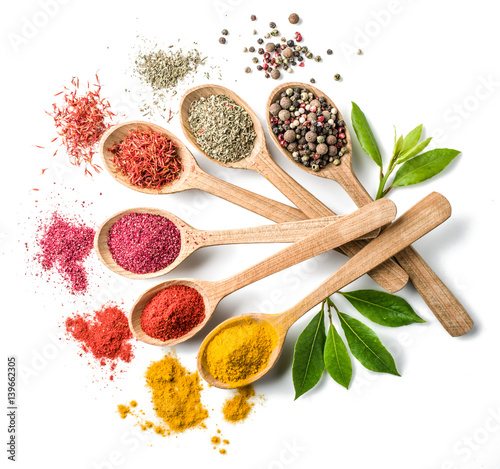Printed kitchen splashbacks Spices Assortment of colorful spices in the wooden spoons on the white background.