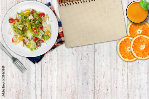 Aluminium Prints Assortment Dietary food. Salad, orange and clean page
