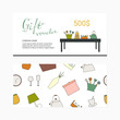Gift voucher template with home appliance icons. Discount card concept.