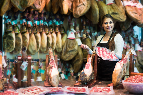Poster Maroc butcher with lard and meat in counter of store