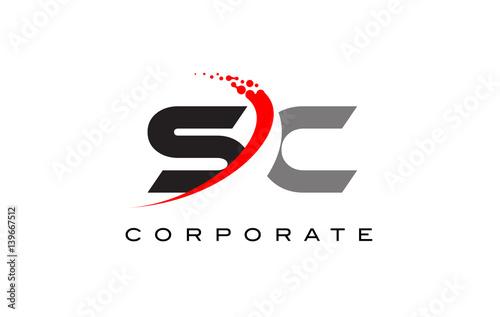 Sc Modern Letter Logo Design With Swoosh Kaufen Sie Diese