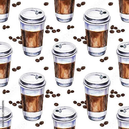 akwarela-bezszwowe-wzor-z-jednorazowych-filizanek-kawy-i-ziaren-kawy-recznie