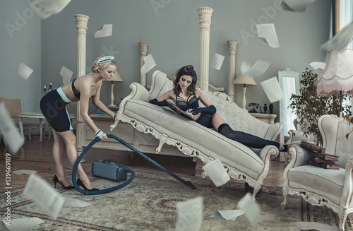 Conceptual photo of the sensual hotel customer and maid