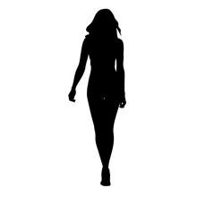 Slim Sexy Woman Vector Silhouette. Tall Girl Walking Forward