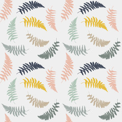 Naklejka Florystyczny Vector seamless floral pattern with hand drawn wild fern leaves in yellow, blue, green, brown and gray pastel colors.