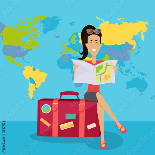 Smiling Brunette Woman Seating on Suitcase Wallpaper Mural