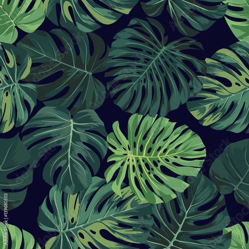 Cotton fabric Vector seamless pattern with green monstera palm leaves on dark background. Summer tropical fabric design.