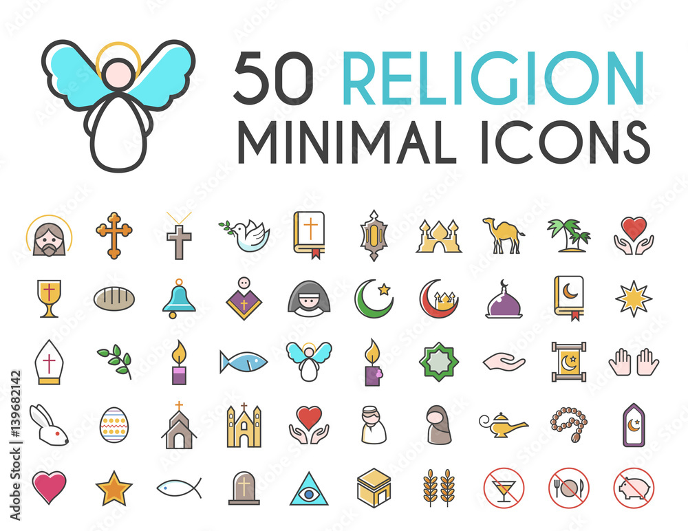 Fototapety, obrazy: Set of 50 Minimalistic Solid Line Coloured Religion Icons . Isolated Vector Elements