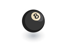 Pool 8 Ball, Billiard Symbol Isometric Flat Icon. 3d Vector Colorful Illustration. Pictogram Isolated On White Background