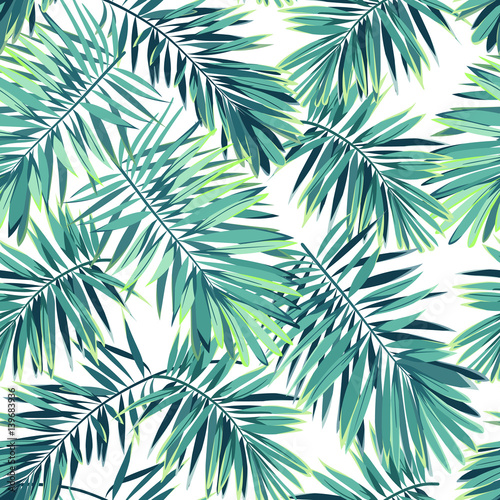 Tropical pattern with exotic plants. Seamless vector tropical pattern with green phoenix palm leaves.