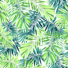 FototapetaBright green background with tropical plants. Seamless vector exotic pattern with phoenix palm leaves.