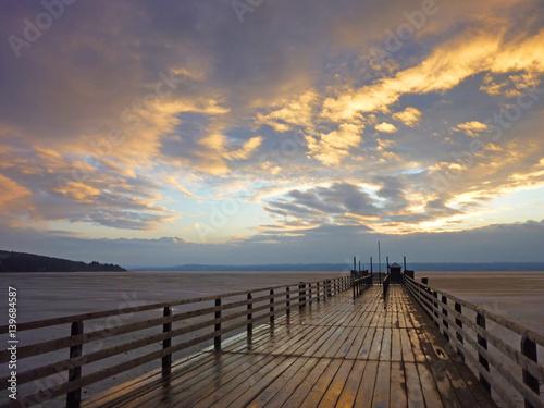 Photo Steg am Ammensee mit Sonnenuntergang