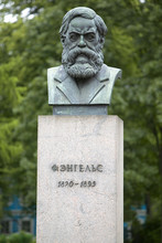 Bronze Statue Of Friedrich Engels At The Smolnyi Institute In St. Petersburg, Russian Federation