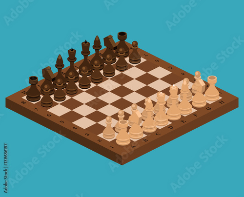 Photo Isometric flat 3D concept vector chess pieces with board