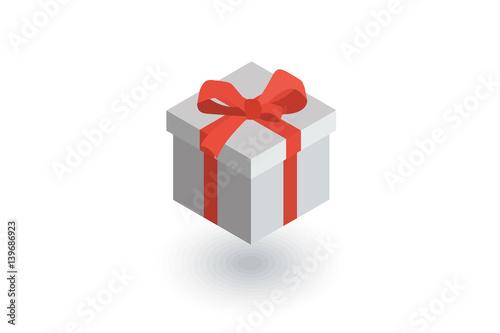Photo  gift box isometric flat icon