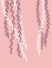 Willow Branches On A Pink Back...