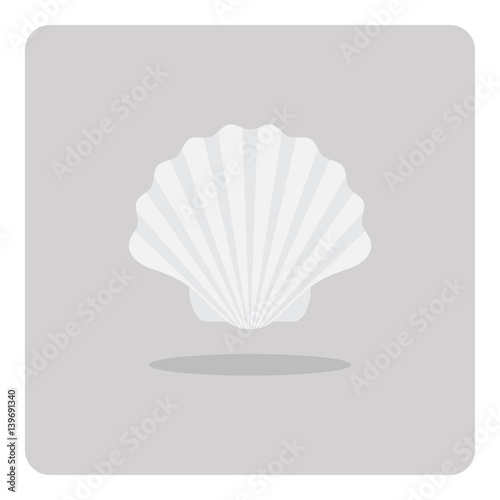 Photographie Vector of flat icon, Scallop shell on isolated background