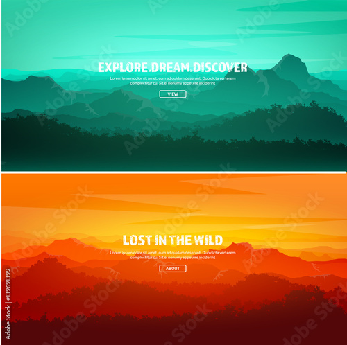 Vert corail Mountains and forest. Wild nature landscape. Travel and adventure.Panorama. Into the woods. Horizon line.Trees,fog,wood.Backgrounds se