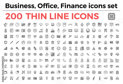 Fotografía  The variety of thin line icons for business, office, finance theme vector illustration