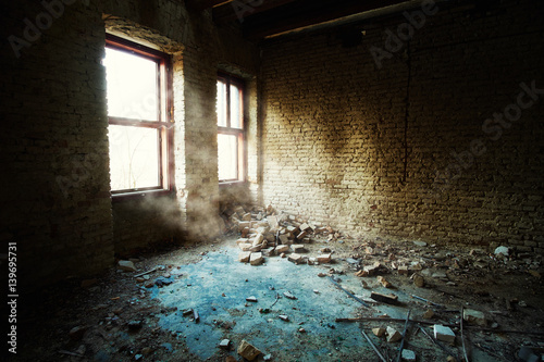 Abandoned old building room Canvas Print