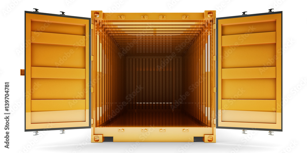 Fototapety, obrazy: Freight transportation and shipping concept, front view of open empty cargo container with open doors, isolated on white background