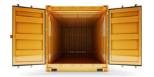 Freight Transportation And Shipping Concept, Front View Of Open Empty Cargo Container With Open Doors, Isolated On White Background