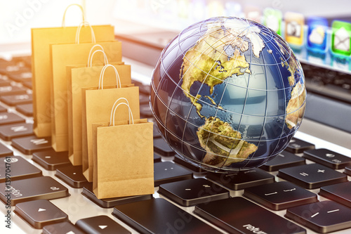 E-commerce, online purchases and internet shopping concept