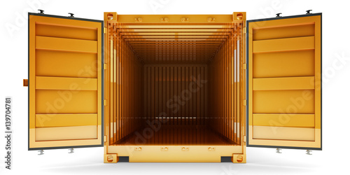 Fotografia  Freight transportation and shipping concept, front view of open empty cargo cont