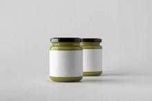 Pumpkin / Hemp Seed Butter Jar Mock-Up - Two Jars. Blank Label