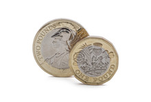New Pound Coin And  Two Pound Coin