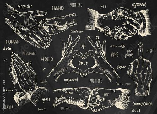 Signs hands, business shaking, folded heart, folded in prayer, folded heart Fototapeta
