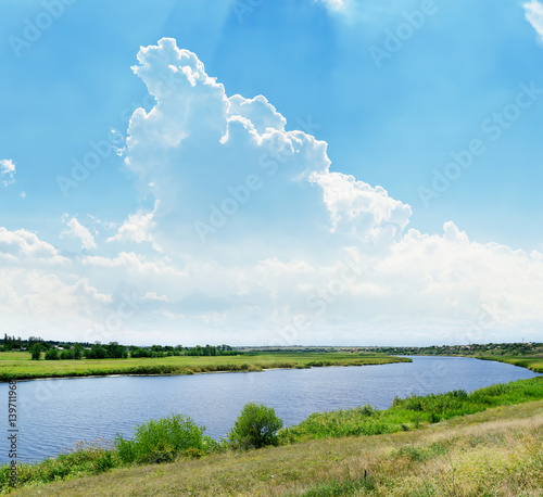 Tuinposter Blauw green summer landscape with river and clouds