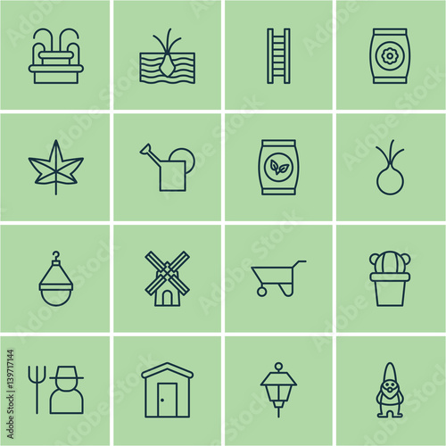 Set Of 16 Planting Icons. Includes Growing Plant, Water Monument, Autumn Plant And Other Symbols. Beautiful Design Elements. Wall mural
