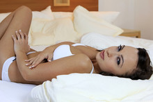 Pretty Young Woman Lounging Se...