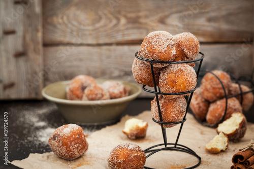 Fresh delicious homemade ball doughnuts Fototapeta