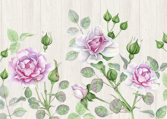 Fototapeta Style Watercolor pink roses on wooden background