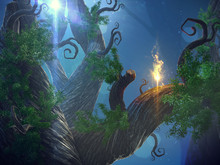 3D Illustration Of A Fairytale Forest In A Idyllic Landscape At Night In The Moonlight.
