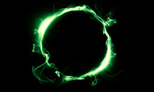 Green Ring Consisting Of A Smoke. The Magical Thing. Fantasy