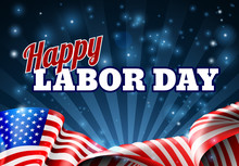 Happy Labor Day American Flag Poster
