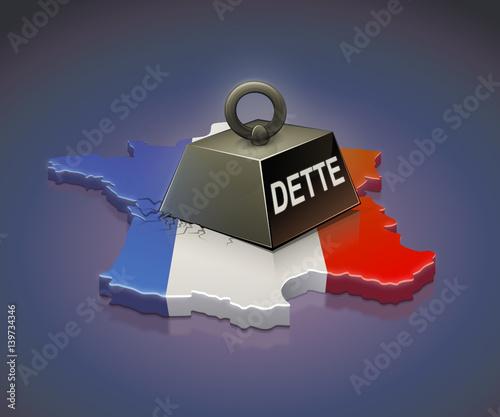Poids de la dette en France (fond sombre) Canvas Print