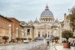 St. Peters Basilica (Basilica di San Pietro) in Vatican City in the morning, Rome, Italy, Europe, Retro filtered style