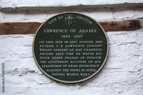 Photo  Lawrence of Arabia Plaque in Lincoln UK