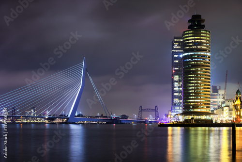 Amazing night view at Erasmus bridge in Rotterdam, Holland.