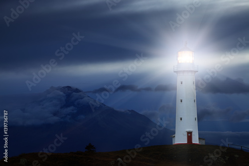 Foto op Aluminium Vuurtoren Cape Egmont Lighthouse, New Zealand