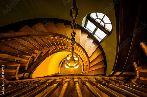 Spiral staircase in the Handley Library, in Winchester, Virginia.