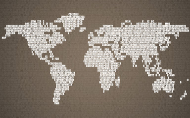 Fototapeta na wymiar Abstract world map with letters of English alphabet. Vector background