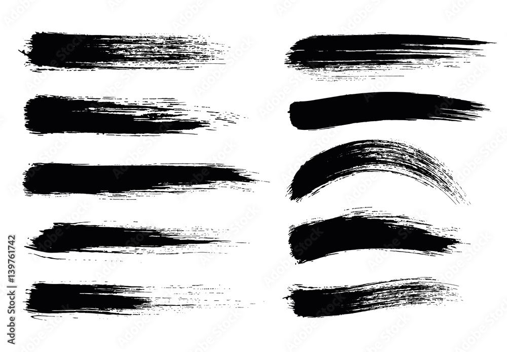 Fototapety, obrazy: Set of black paint, ink brush strokes, brushes, lines. Dirty elements. - stock vector.