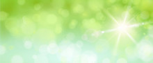 Bokeh Banner Mit Sonne, Grün Blau - Frühling /Sommer